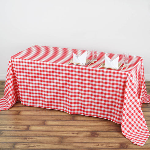 "90x132"" White/Red Perfect Picnic Inspired Checkered Polyester Tablecloths"
