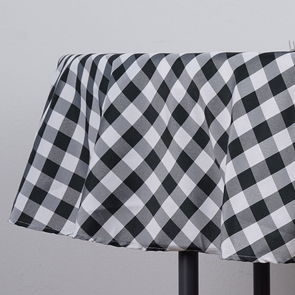 "Perfect Picnic Inspired Checkered 90"" Round Polyester Tablecloths White / Black"