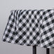 "90"" Round Checkered White/Black Polyester Tablecloth"