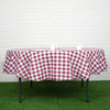 Buffalo Plaid Tablecloth | 90 inch Round | White/Burgundy | Checkered Polyester Tablecloth
