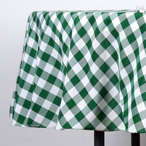 "90"" Round Checkered White/Green Polyester Tablecloth"