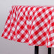 "Perfect Picnic Inspired Checkered 90"" Round Polyester Tablecloths White / Red"