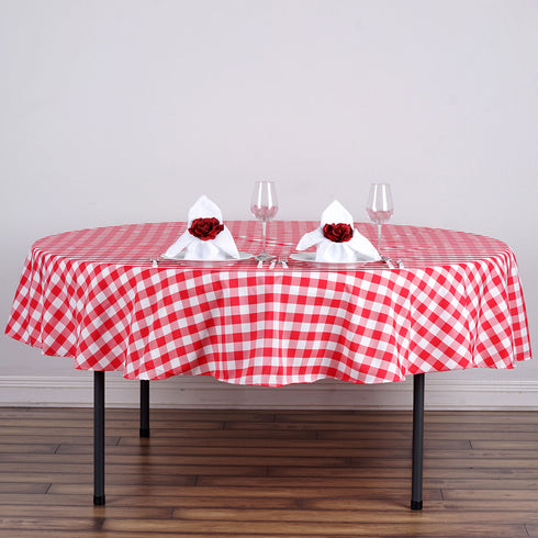 "90"" Wholesale Round Checkered White/Red Polyester Tablecloth"