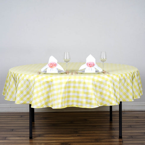 "90"" Round Checkered White/Yellow Polyester Tablecloth"