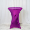 24 inch Dia Premium Spandex Cocktail Table Cover - Metallic Purple