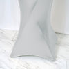 Premium Metallic Silver Stretch Spandex Cocktail Table Cover
