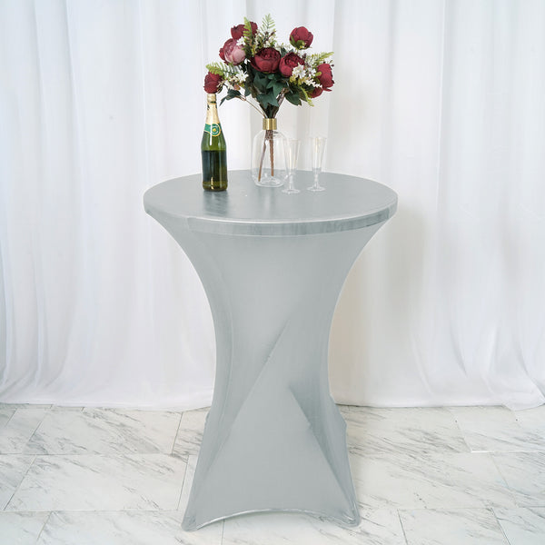"24"" Dia Premium Spandex Cocktail Table Cover - Metallic Silver"