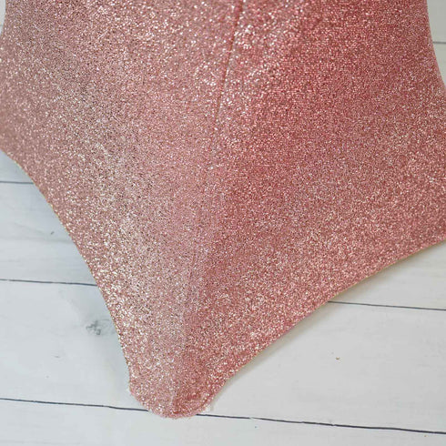 Rose Gold Metallic Shiny Glittered Spandex Cocktail Table Cover