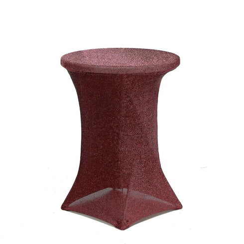 Burgundy Metallic Shiny Glittered Spandex Cocktail Table Cover