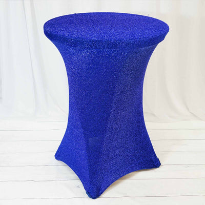 Royal Blue Metallic Shiny Glittered Spandex Cocktail Table Cover