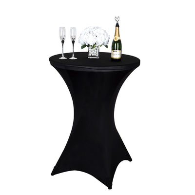 Black Cocktail Spandex Table Cover Efavormart