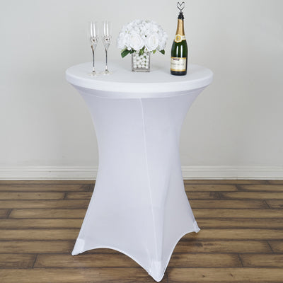 White Cocktail Spandex Table Cover Efavormart