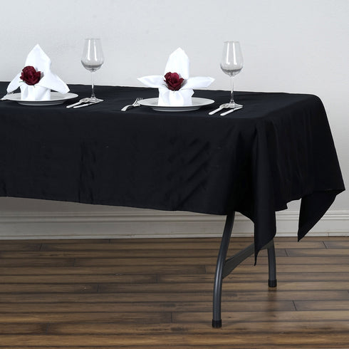 "60x102"" Black Rectangle Chambury Casa 100% Cotton Tablecloth"