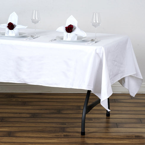 "60x102"" White Rectangle Chambury Casa 100% Cotton Tablecloth"