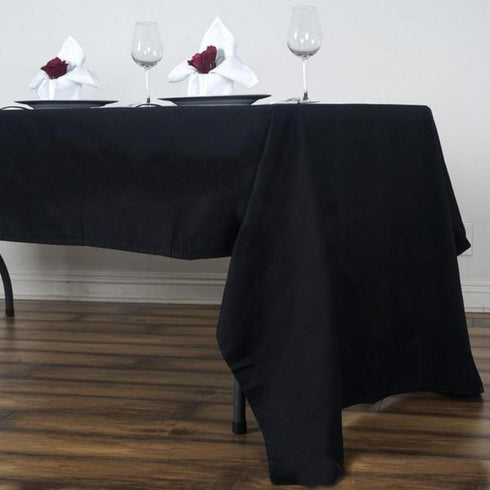 "60x126"" Rectangle Chambury Casa 100% Cotton Tablecloth - Black"