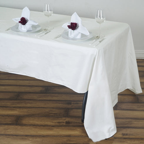 "60x126"" Ivory Rectangle Chambury Casa 100% Cotton Tablecloth"