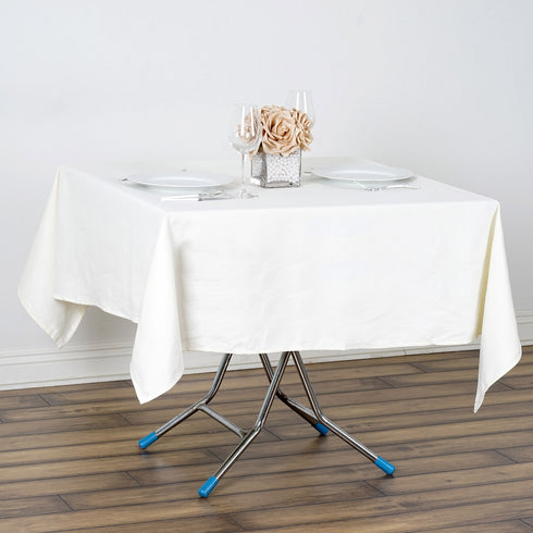 "60"" Square Chambury Casa 100% Cotton Tablecloth - Ivory"