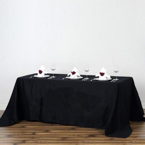 "90x132"" Rectangle Chambury Casa 100% Cotton Tablecloth - Black"