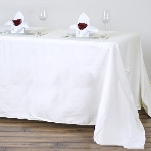 "90x132"" Ivory Rectangle Chambury Casa 100% Cotton Tablecloth"