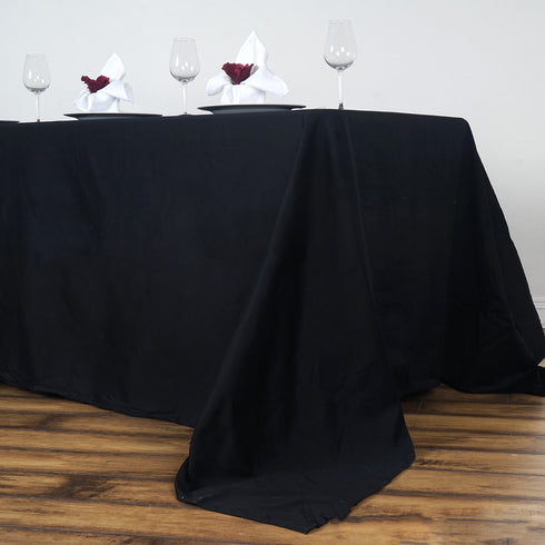 "90x156"" Black Rectangle Chambury Casa 100% Cotton Tablecloth"