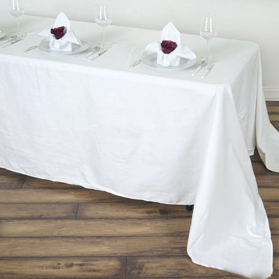 "90x156"" Ivory Rectangle Chambury Casa 100% Cotton Tablecloth"
