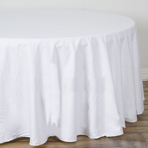 "120"" White Round Chambury Casa 100% Cotton Tablecloth"