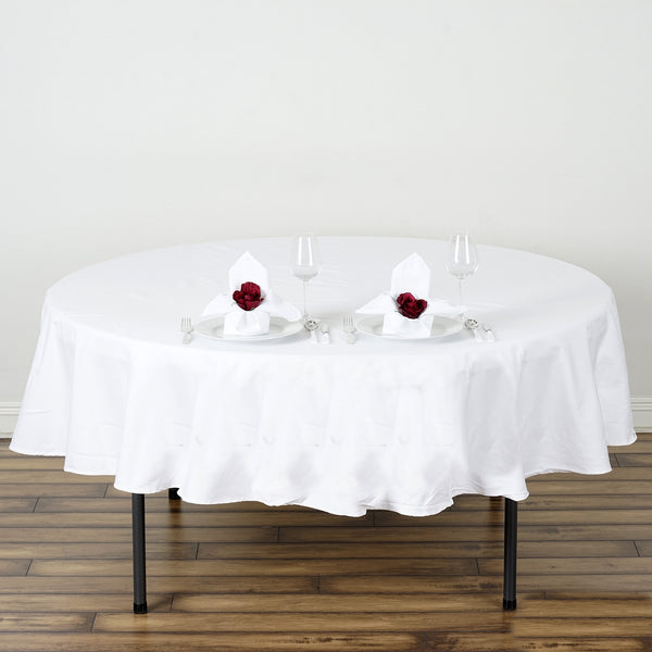 "70"" White Round Chambury Casa 100% Cotton Tablecloth"