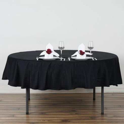 "90"" Round Chambury Casa 100% Cotton Tablecloth - Black"