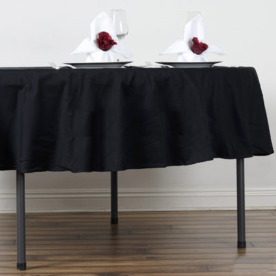 "90"" Black Round Chambury Casa 100% Cotton Tablecloth"