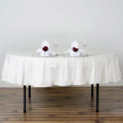 "90"" Round Chambury Casa 100% Cotton Tablecloth - Ivory"