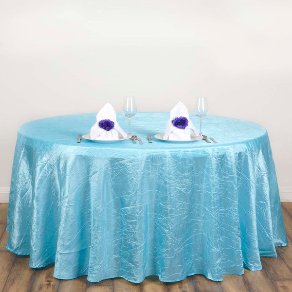 "117"" Light Blue Crinkle Crushed Taffeta Round Tablecloth"