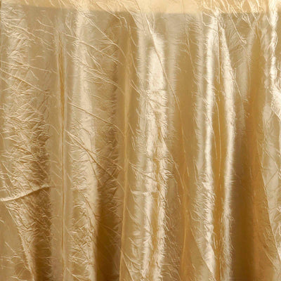 "Champagne 117"" Crinkle Taffeta Round Tablecloth"