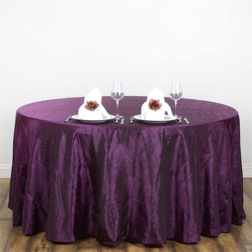 "117"" Eggplant Crinkle Crushed Taffeta Round Tablecloth"