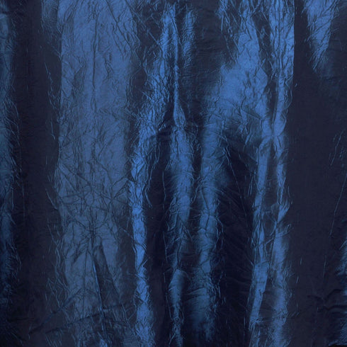 "117"" Navy Crinkle Crushed Taffeta Round Tablecloth"