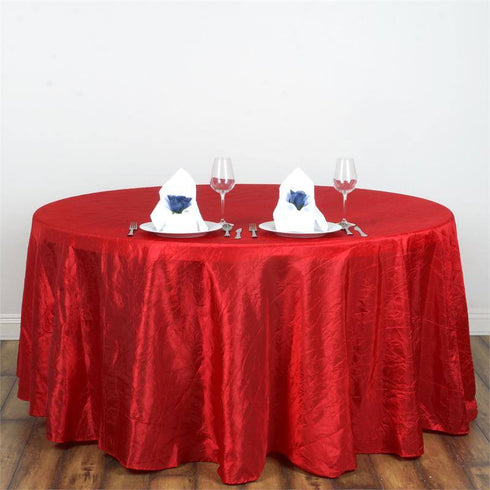 "117"" Red Crinkle Crushed Taffeta Round Tablecloth"