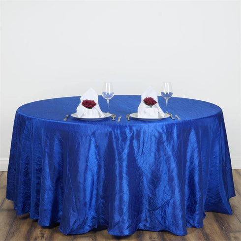 "117"" Royal Blue Crinkle Crushed Taffeta Round Tablecloth"