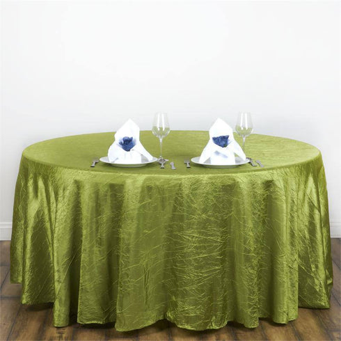 "117"" Sage Green Crinkle Crushed Taffeta Round Tablecloth"