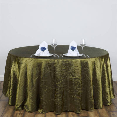 "117"" Crinkle Taffeta Round Tablecloth - Willow Green"