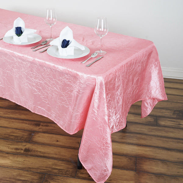 "60""x102"" Rose Quartz Crinkle Crushed Taffeta Rectangular Tablecloth"