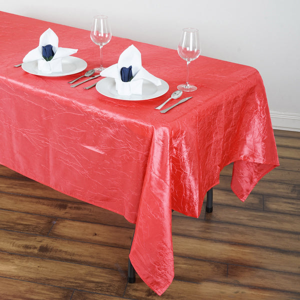 "60""x102"" Coral Crinkle Crushed Taffeta Rectangular Tablecloth"