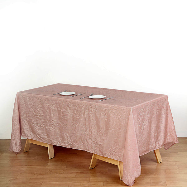 "60""x102"" Dusty Rose Crinkle Crushed Taffeta Rectangular Tablecloth"