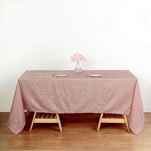 "60x102"" Dusty Rose Crinkle Crushed Taffeta Rectangular Tablecloth"