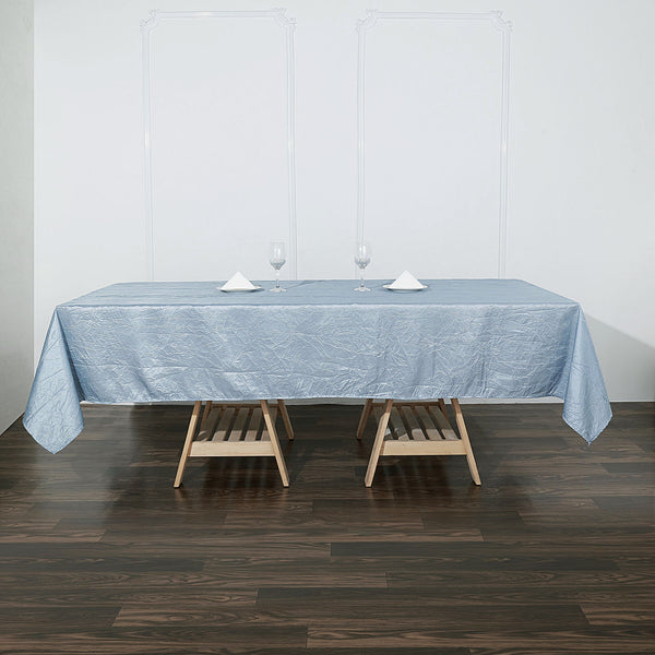 "60""x102"" Dusty Blue Crinkle Crushed Taffeta Rectangular Tablecloth"