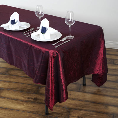 "60x102"" Burgundy Crinkle Crushed Taffeta Rectangular Tablecloth"