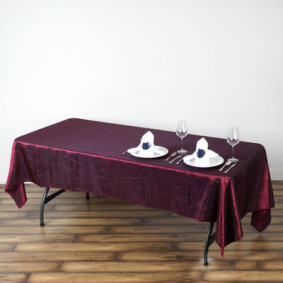 "60x102"" Burgundy Crinkle Taffeta Rectangular Tablecloth"