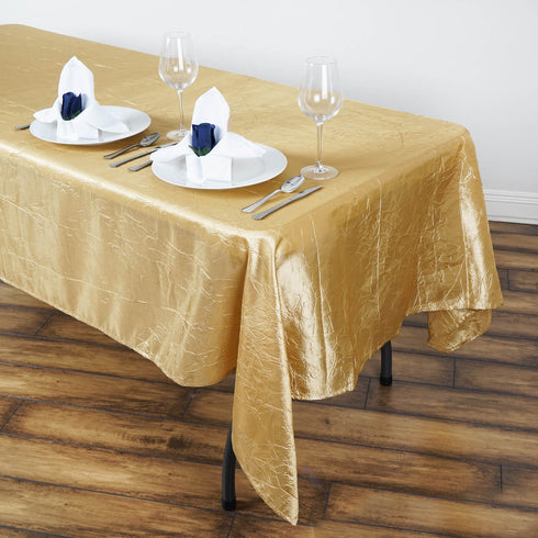 "60x102"" Champagne Crinkle Crushed Taffeta Rectangular Tablecloth"