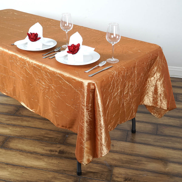 "60""x102"" Gold Crinkle Crushed Taffeta Rectangular Tablecloth"