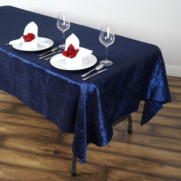 "60""x102"" Navy Blue Crinkle Crushed Taffeta Rectangular Tablecloth"