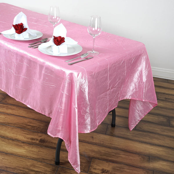 "60""x102"" Pink Crinkle Crushed Taffeta Rectangular Tablecloth"