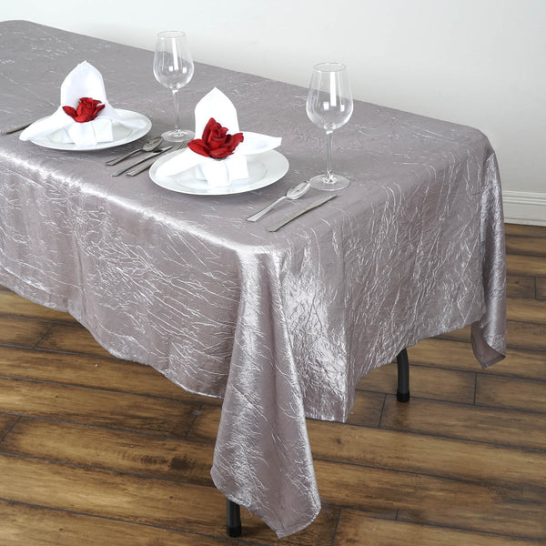 "60""x102"" Silver Crinkle Crushed Taffeta Rectangular Tablecloth"